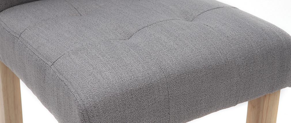 Tabourets de bar capitonnés gris clair et bois H66 cm (lot de 2) ESTER