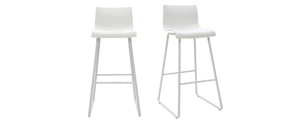 Tabourets de bar design blanc 76 cm (lot de 2) ONA
