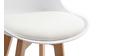 Tabourets de bar design blanc et bois 65 cm (lot de 2) PAULINE