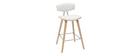 Tabourets de bar design blanc et bois clair H69 cm (lot de 2) VASCO