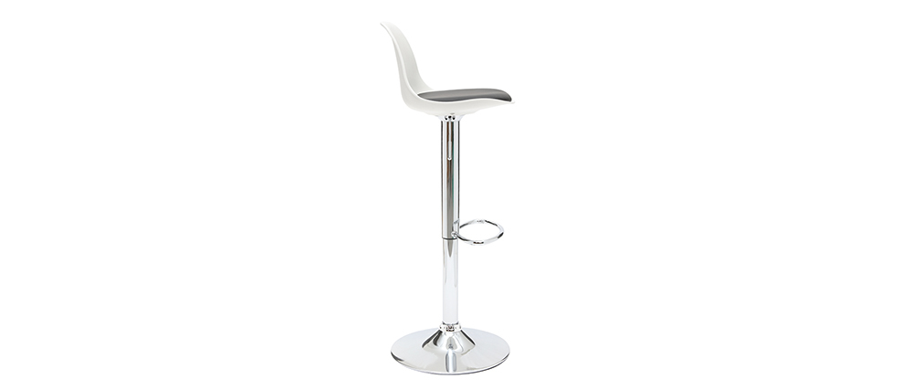 Tabourets de bar design blanc et noir (lot de 2) STEEVY