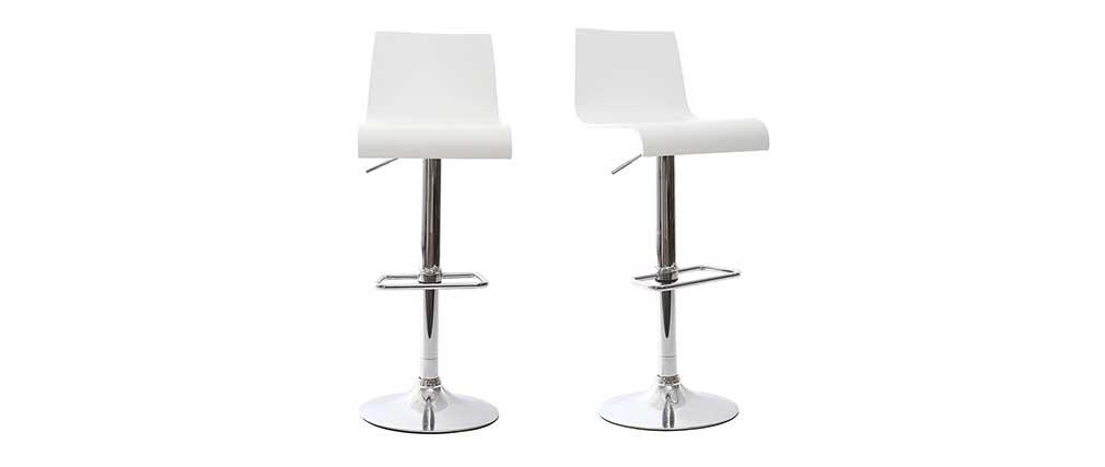 Tabourets de bar design blancs (lot de 2) NEWSURF