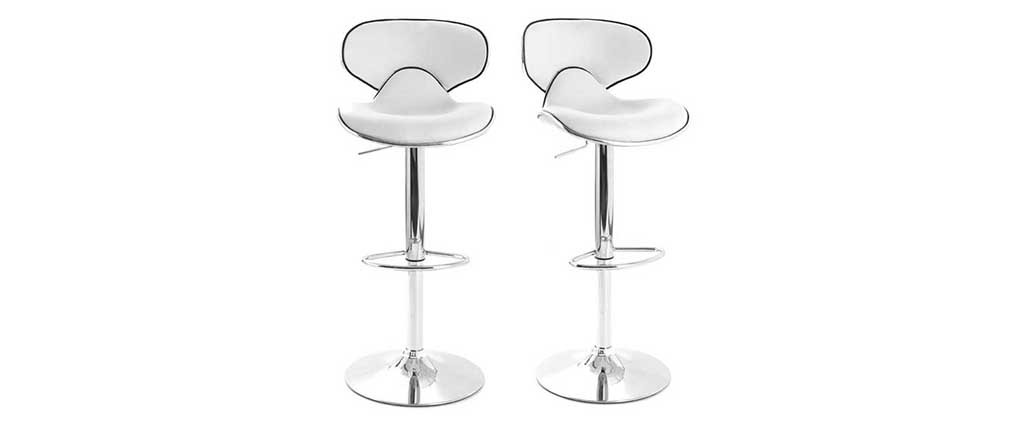 Tabourets de bar design blancs (lot de 2) PEGASE