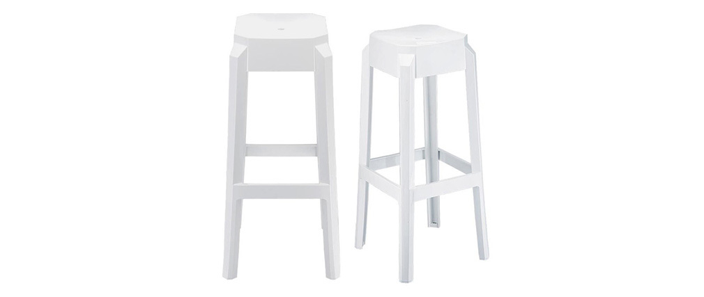 Tabourets de bar design blancs 75 cm (lot de 2) CLEAR
