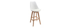 Tabourets de bar design blancs et bois 75 cm (lot de 2) PAULINE