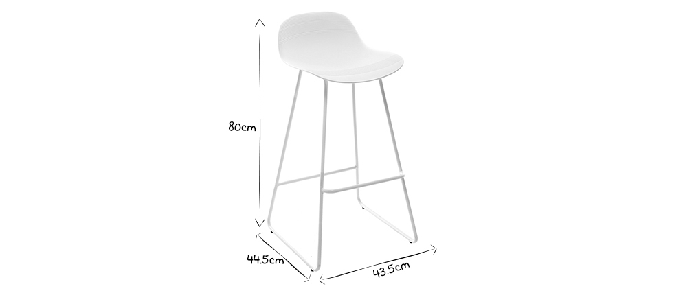 Tabourets de bar design blancs H65 cm (lot de 2) ELLA