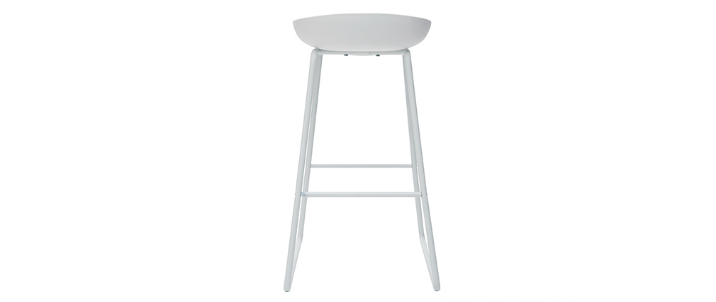 Tabourets de bar design blancs H75 cm  (lot de 2) PEBBLE