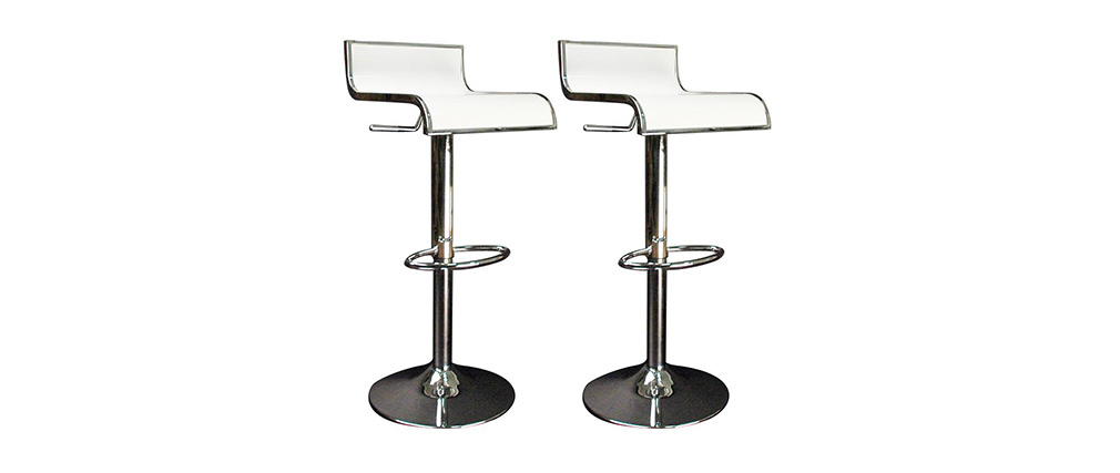 Tabourets de bar design blancs WAVES (lot de 2)