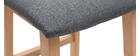 Tabourets de bar design bois clair et tissu gris 65 cm (lot de 2) OSAKA