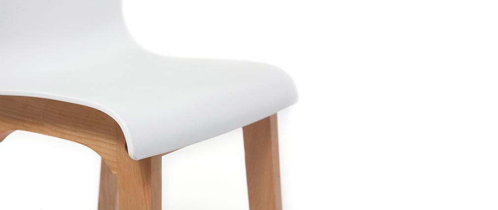 Tabourets de bar design bois et blanc H65 cm (lot de 2) NEW SURF