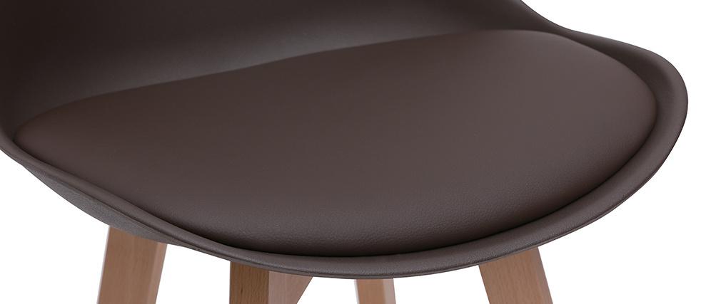 Tabourets de bar design chocolat et bois 65 cm (lot de 2) PAULINE