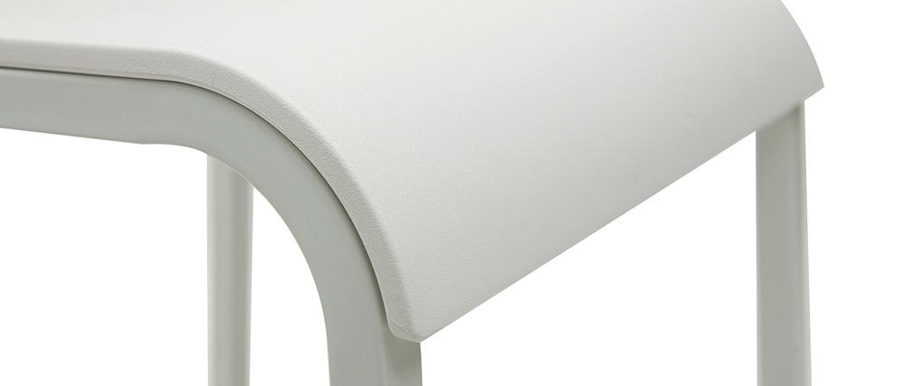 Tabourets de bar design empilables blancs H65 cm (lot de 2) KUPA