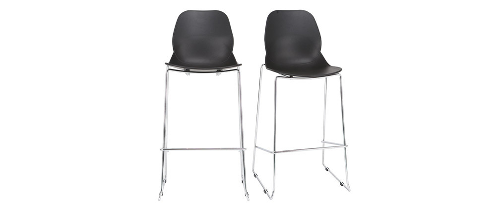 Tabourets de bar design empilables noirs 76.5 cm (lot de 2) TROCADERO