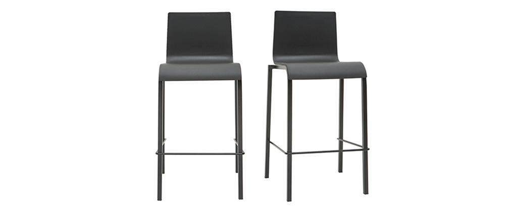 Tabourets de bar design empilables noirs H65 cm (lot de 2) KUPA