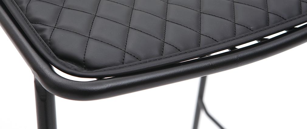 Tabourets de bar design en métal noir avec coussin 75 cm (lot de 2) FEELING