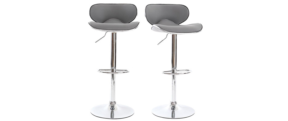 Tabourets de bar design gris (lot de 2) PEGASE