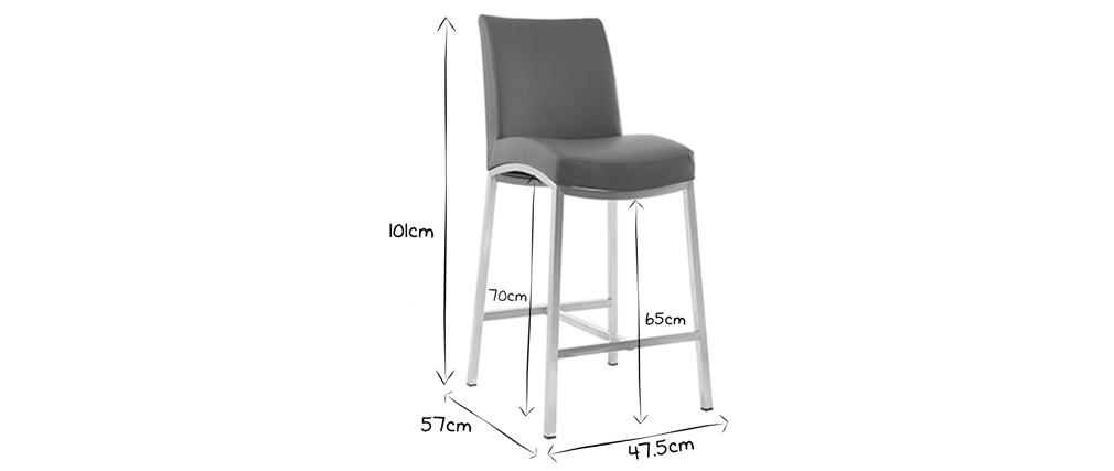 Tabourets de bar design gris clair H70 cm (lot de 2) OLLY