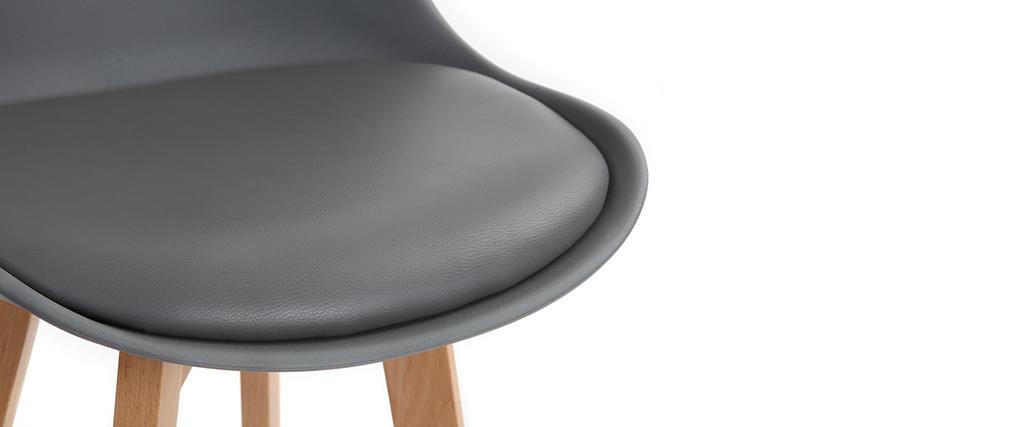 Tabourets de bar design gris et bois 65 cm (lot de 2) PAULINE