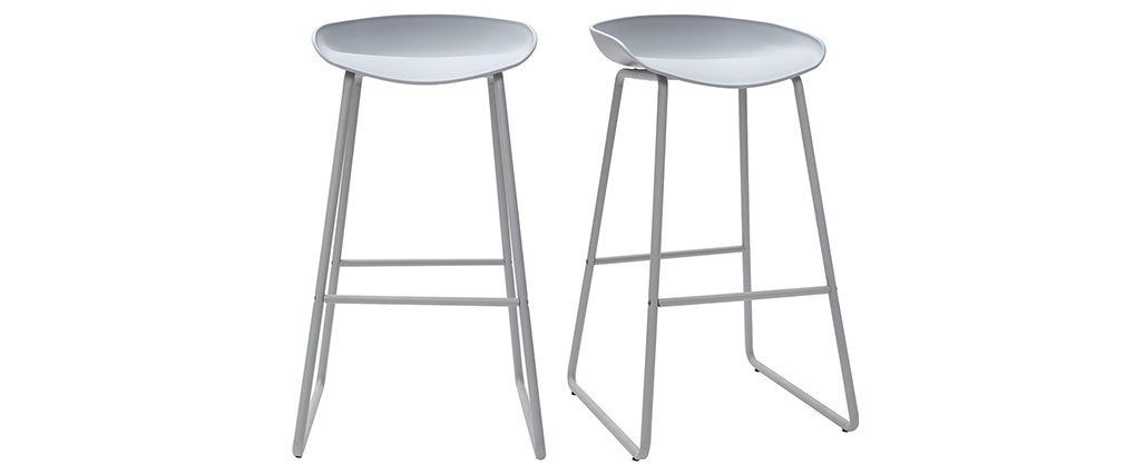 Tabourets de bar design gris H75 cm (lot de 2) PEBBLE
