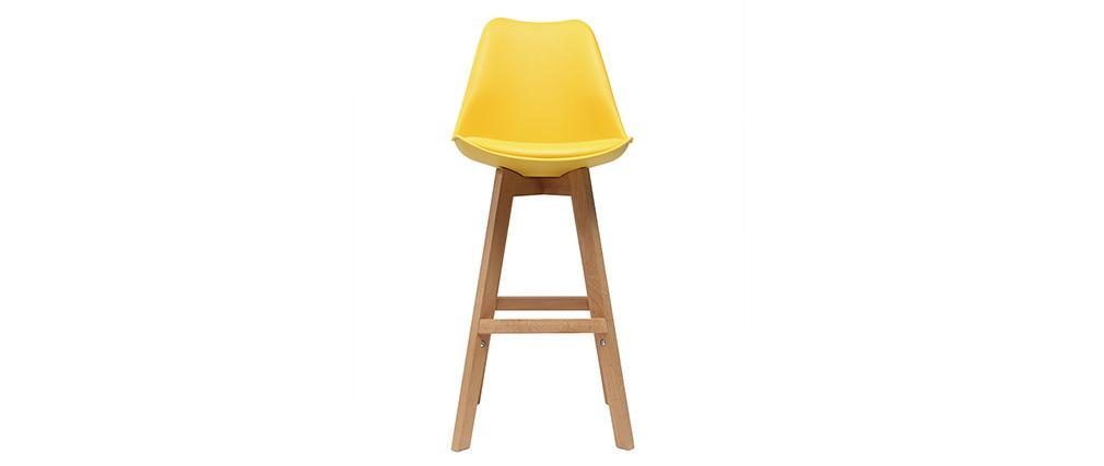 Tabourets de bar design jaune et bois 65 cm (lot de 2) PAULINE