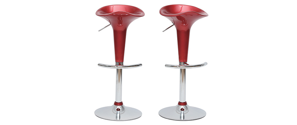 Tabourets de bar design lie de vin GALAXY (lot de 2)