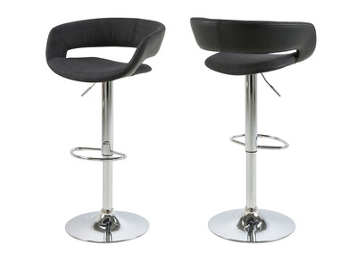 Tabourets de bar design lot de 2 noir et gris anthracite simili cuir GRAVIT V2