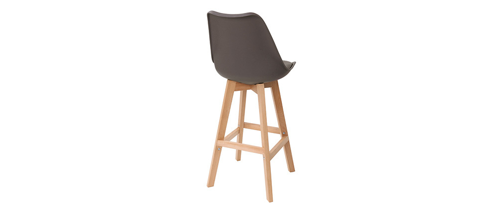 Tabourets de bar design marron et bois 75 cm (lot de 2) PAULINE