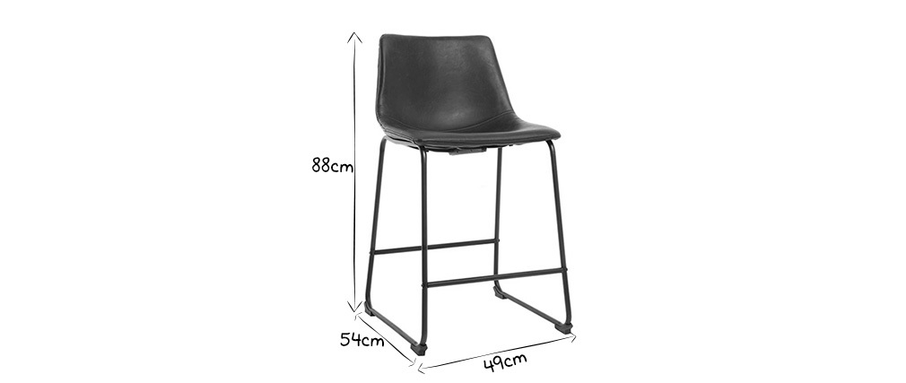 Tabourets de bar design noir 61 cm (lot de 2) NEW ROCK