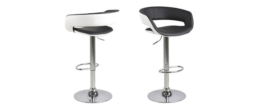 Tabourets de bar design noir et blanc GRAVIT V2 (lot de 2)