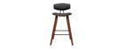 Tabourets de bar design noir et bois foncé H69 cm (lot de 2) VASCO