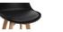 Tabourets de bar design noir et bois H65 cm (lot de 2) PAULINE
