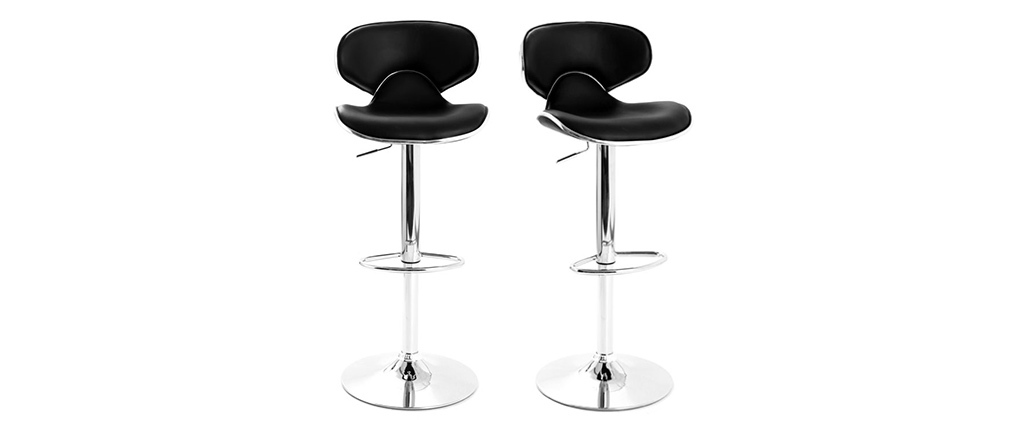 Tabourets de bar design noirs (lot de 2) PEGASE