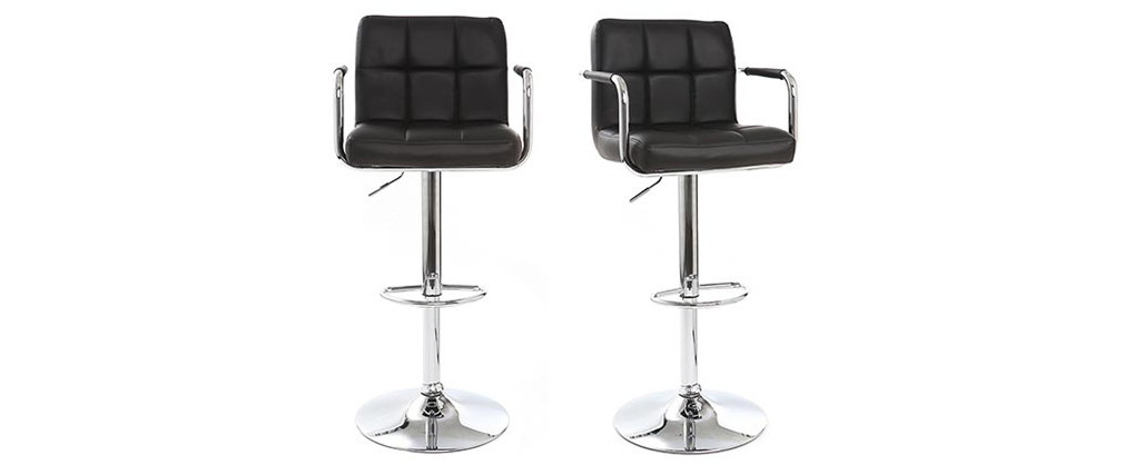 Tabourets de bar design noirs (lot de 2) WILLORD