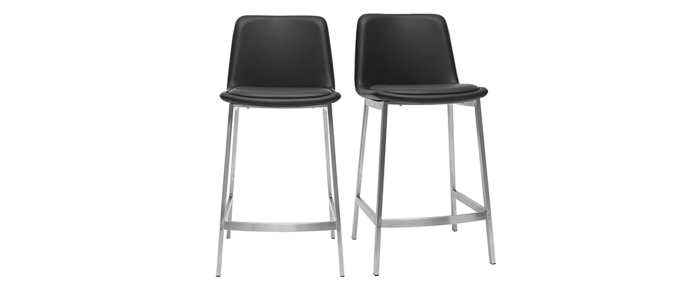 Tabourets de bar design noirs 66 cm (lot de 2) ARSENE