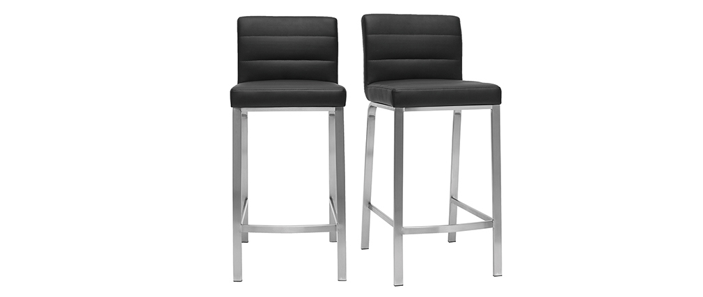 Tabourets de bar design noirs 66 cm (lot de 2) TOMY