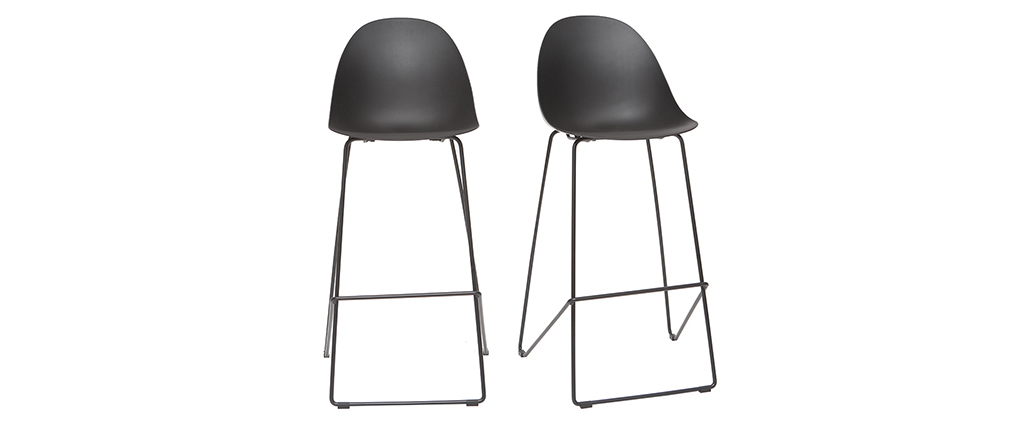 Tabourets de bar design noirs 77 cm (lot de 2) CONCHA