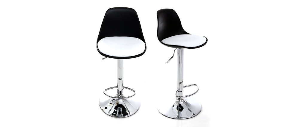 Tabourets de bar design noirs et blancs (lot de 2) STEEVY