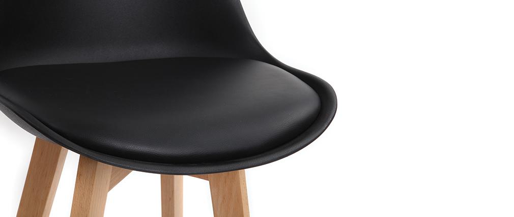 Tabourets de bar design noirs et bois 65 cm (lot de 2) PAULINE