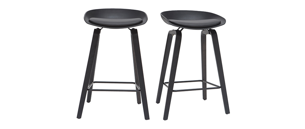 Tabourets de bar design noirs et bois 65cm (lot de 2) LINO