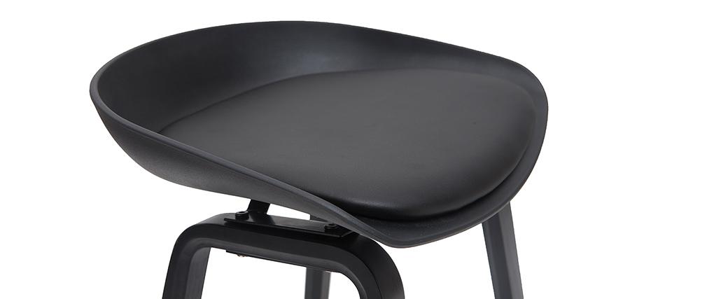 Tabourets de bar design noirs et bois H65cm (lot de 2) LINO