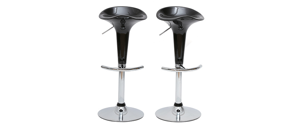 Tabourets de bar design noirs GALAXY (lot de 2)