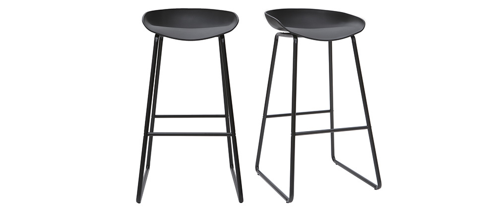 Tabourets de bar design noirs H75 cm (lot de 2) PEBBLE