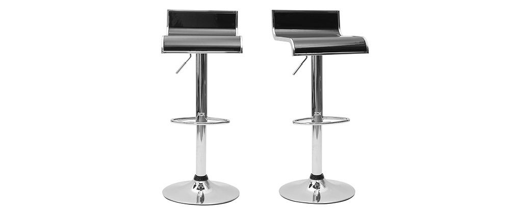 Tabourets de bar design noirs WAVES (lot de 2)
