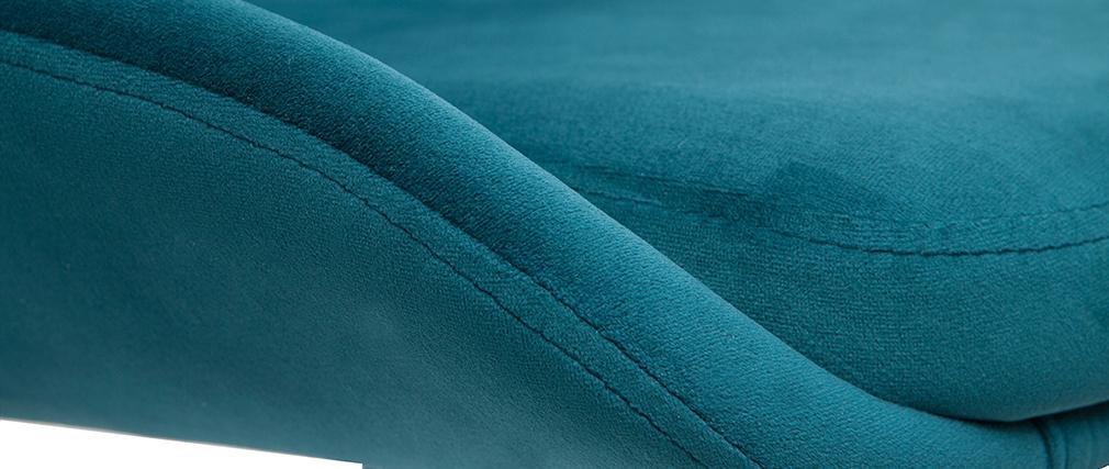 Tabourets de bar design réglables velours bleu pétrole (lot de 2) HOLO