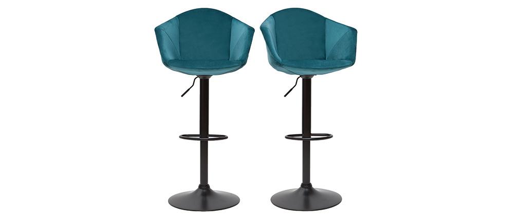 Tabourets de bar design réglables velours bleu pétrole (lot de 2) TAYA