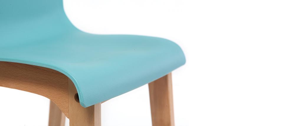 Tabourets de bar design turquoise et bois H65 cm (lot de 2) NEW SURF