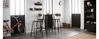 Tabourets de bar empilables en métal noir et en bois H75 cm (lot de 2) IGLA