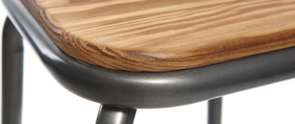 Tabourets de bar empilables métal et bois foncé H75 cm (lot de 2) MEMPHIS