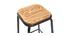 Tabourets de bar empilables noir et bois foncé H65 cm (lot de 2) MEMPHIS
