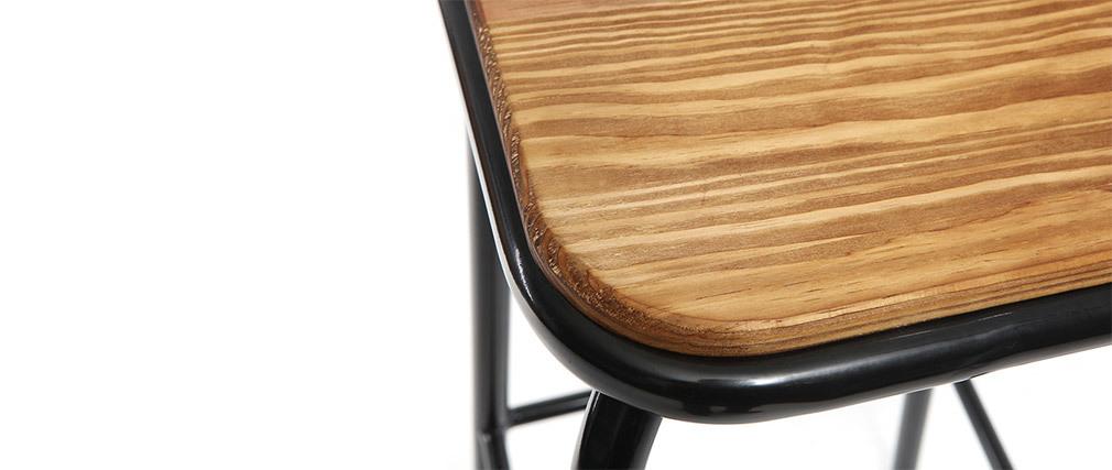 Tabourets de bar empilables noir et bois foncé H75 cm (lot de 2) MEMPHIS